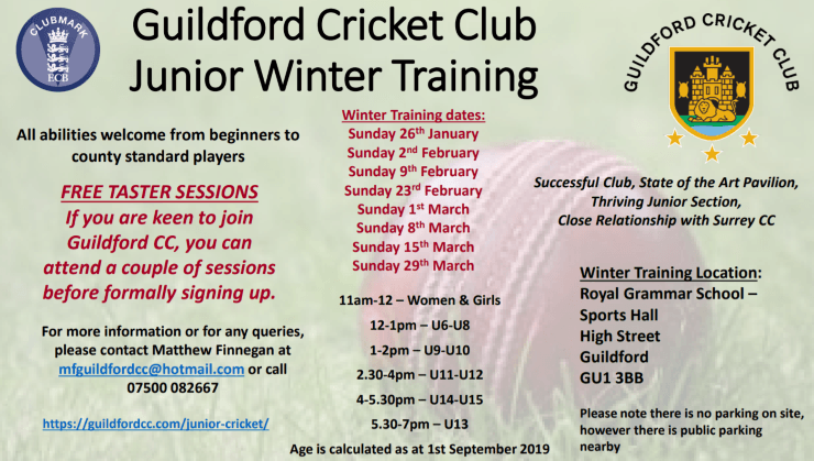 Guildford CC Junior Winter Nets programme 2020